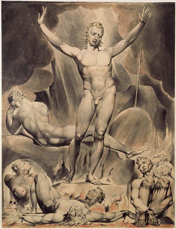Ilustración del Diablo o Satanás de William Blake, presente en El paraíso perdido de John Milton
