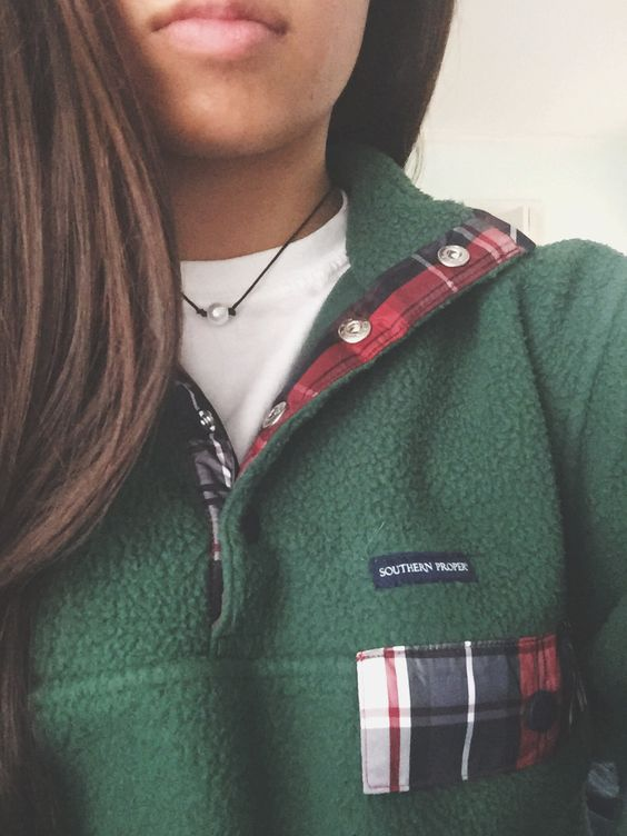 Southern Proper Fleece Pullover in green and plaid http://www ...