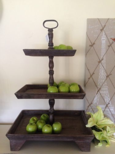 huge 86cm 3 tier wooden fruit stand timber french provincial country cakes bread ebay. Black Bedroom Furniture Sets. Home Design Ideas