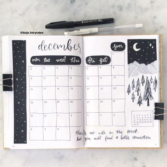 30 idées pour votre page de décembre dans votre Bullet Journal - @bujo.fairytales on instagram