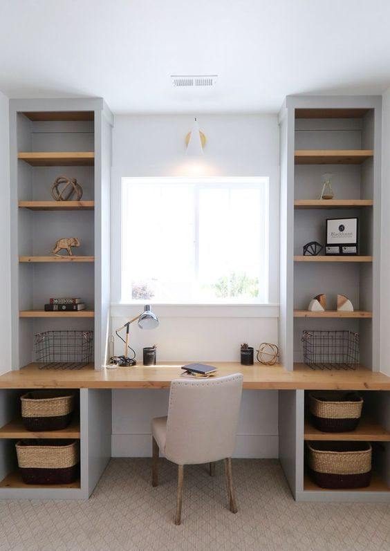 Built In Wall Shelves And A Built In Desk Is A Perfect Idea For A Small Home Office In Taupe Shades Home Office Decor Home Office Design Built In Desk
