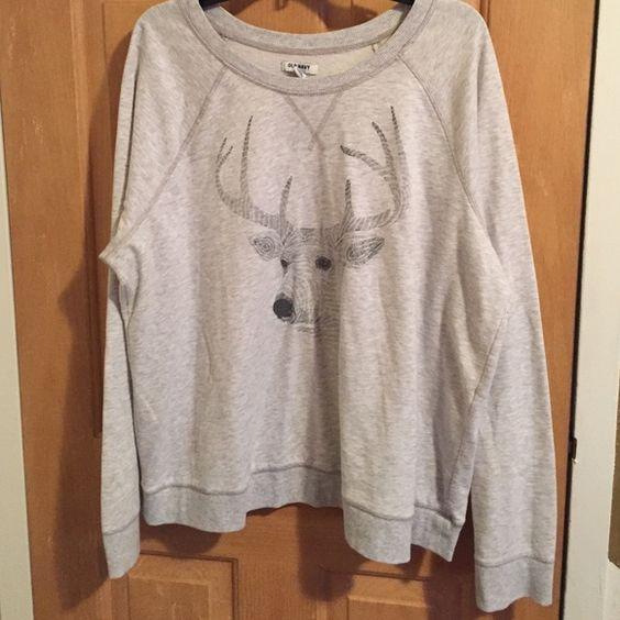Old Navy Deer Sweatshirt Crewneck deer head Old Navy sweatshirt. Very comfy. Slouchy fit. Old Navy Tops Sweatshirts & Hoodies