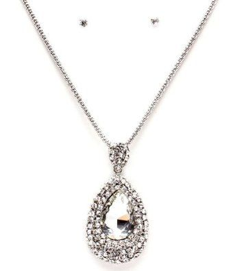 Amazon.com: BLING Designer Crystal Pendant Necklace & Earring Set w/rope chain by Jersey Bling: Jewelry