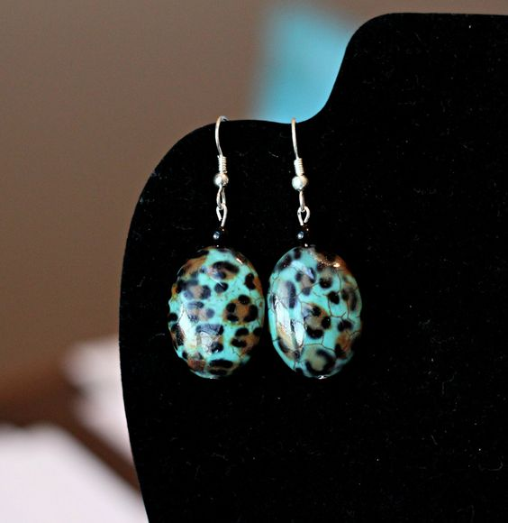 Teal and Leopard Print Earrings. $10.00, via Etsy. Love these!: