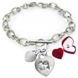Bracelet double coeur gravure photo - PORT GRATUIT