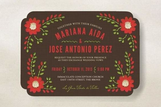 red and green needlepoint inspired fiesta wedding invitation on brown background