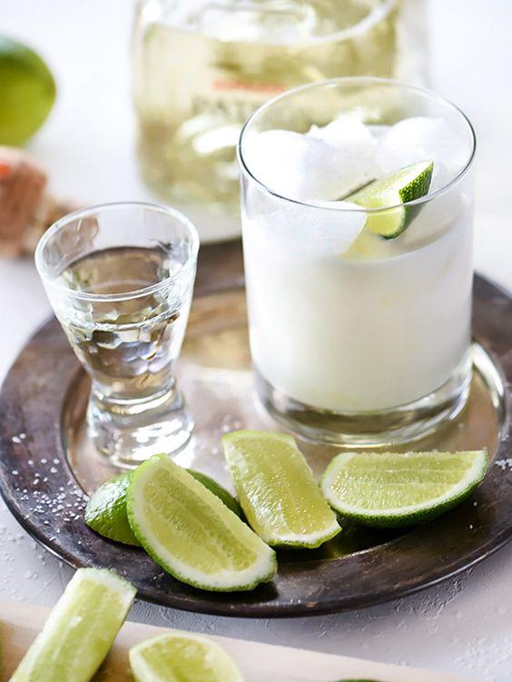 A combination of coconut cream and coconut milk infuse tropical flavors into my favorite reposado tequila margarita.