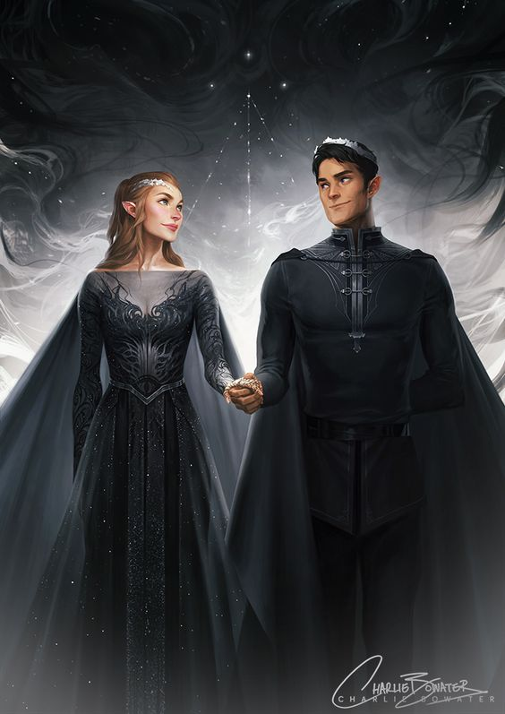 High Lord and Lady of the Night Court by Charlie Bowater (aka one of my all-time favorite pieces of Feyre/Rhys fanart!!)