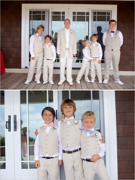 Fetching groomsmen in beige and white. The suit for the groom and ...