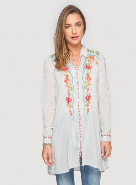 Johnny Was Embroidered Rayon Kayleen Blouse in Shell White #bohochic #newin #johnnywas