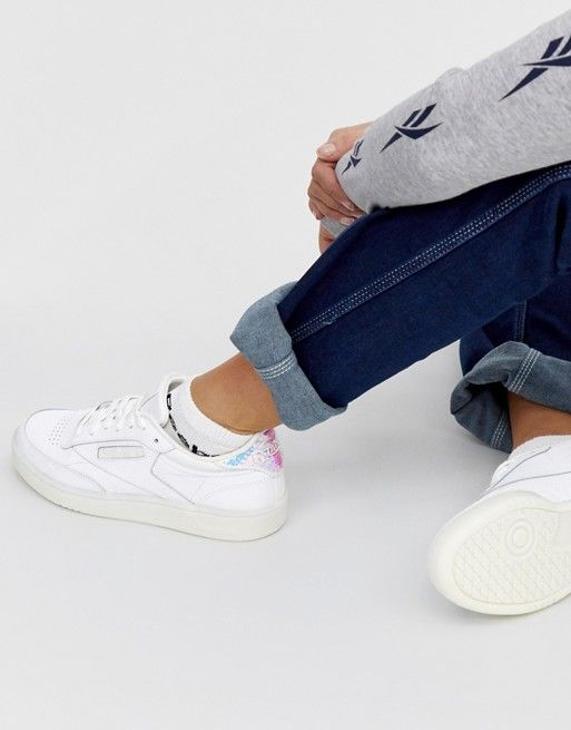 Reebok Club C 85 Trainers in White with iridescent back