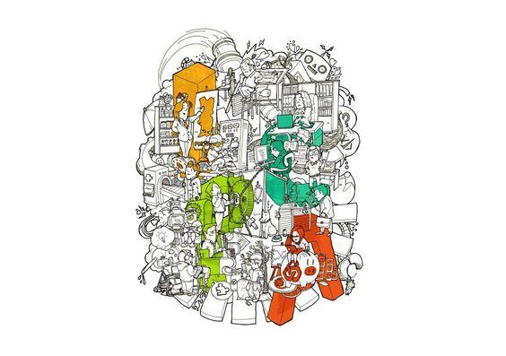 Ilustração vencedora do concurso T-Shirt IPCA, do ilustrador José Machado