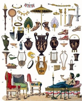 ancient greece culture items musical instruments furniture jewelry vases ancient greek furniture