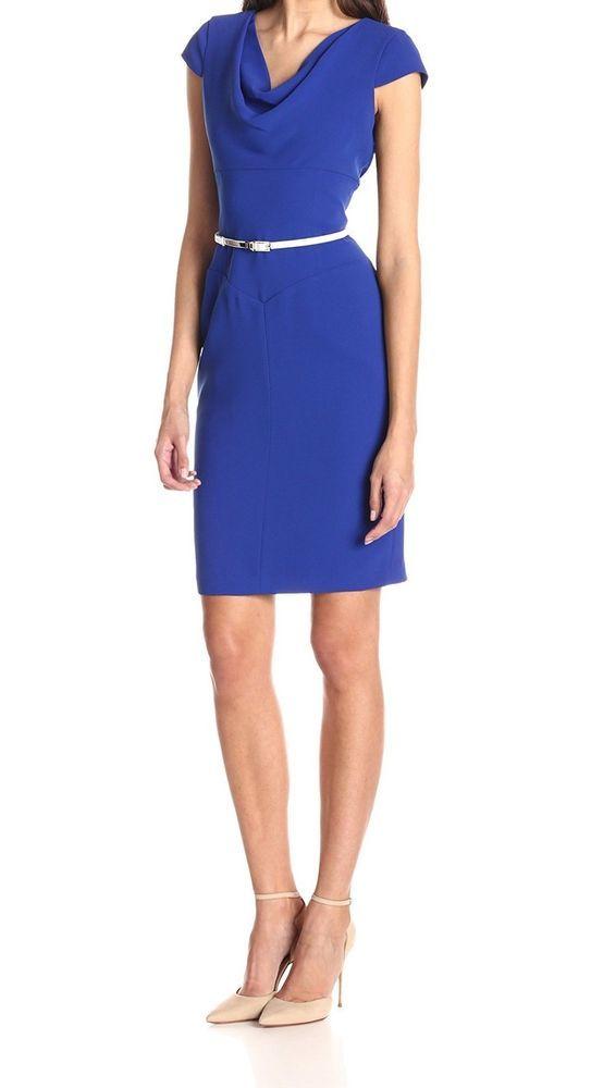 Calvin Klein NEW Atlantic Blue Women's 6 Cowl-Neck Belted Sheath Dress $134- #CalvinKlein #Sheath #WeartoWork