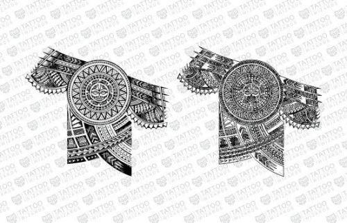 Maori Samoan Polynesian Sun Warrior Half Sleeve Tattoo Stencil Template Half Sleeve Tattoo Stencils Half Sleeve Tattoo Half Sleeve Tattoos Designs