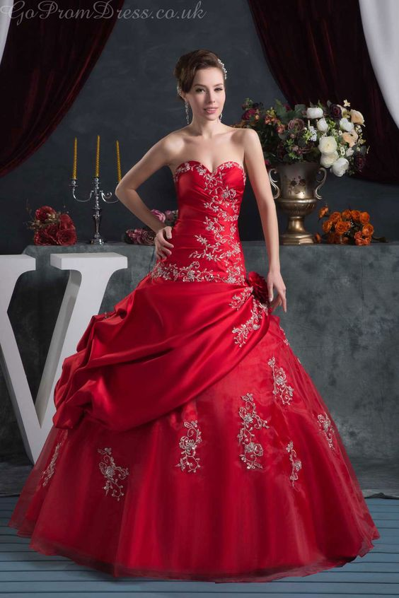 Ball Gown Pongee Sweetheart Natural Waist Floor-Length -up Sleeveless Appliques Draping Pick-ups Red Wedding Dress - Gopromdress.co.uk