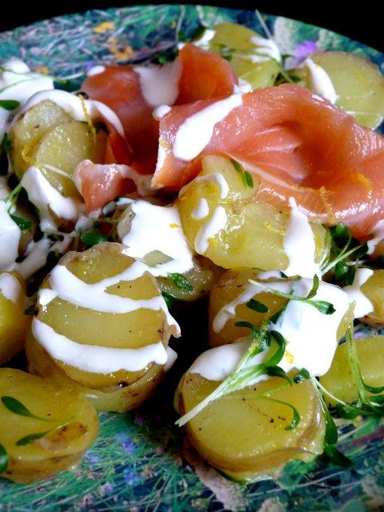 British potato salad with watercress and smoked salmon
