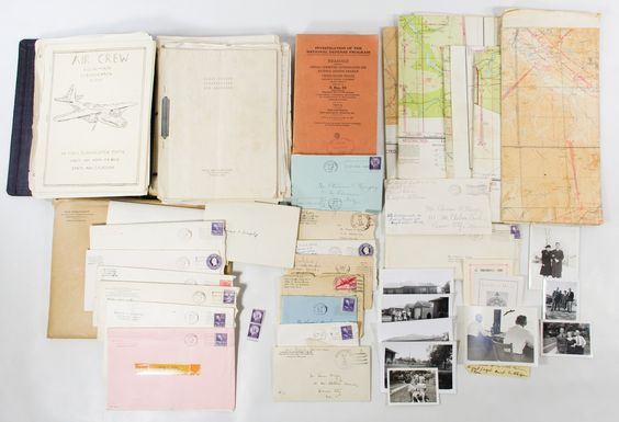 Lot 454: World War II Era Pilot's Document Archive; Including maps, training logs and letters