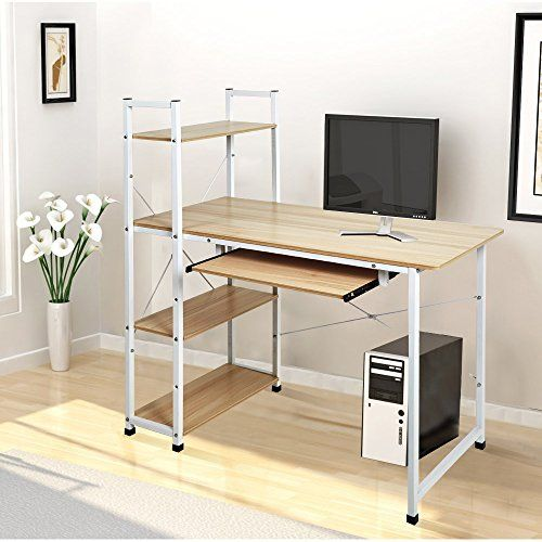 Dporticus 49 Home Office Workstation Computer Desk Bookshelf With 4 Tier Shlf And Pullout Keyboard Tray White And Oak Bookshelf Desk Desk Office Workstations