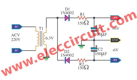 simple power supply diagram many simple 6v power supply circuit elec circuit com  con  many simple 6v power supply circuit