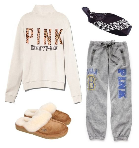 """""""Lazy Day"""" by jwpixie ❤ liked on Polyvore featuring Victoria's Secret, Victoria's Secret PINK, UGG Australia and River Island"""