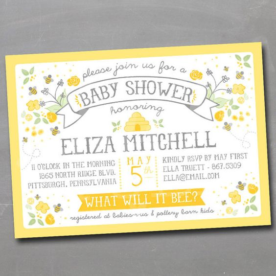 What Will It Bee Invitation Honeybee Bumble Bee Invite Gender Reveal Or Baby Shower Invitations