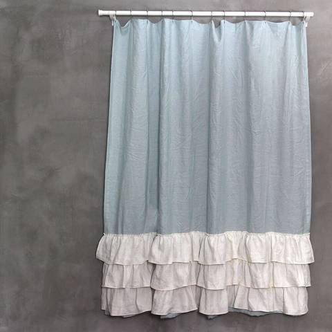 Two Tones Linen Ruffles Shower Curtain Ruffle Shower Curtains Curtains Vinyl Shower Curtains
