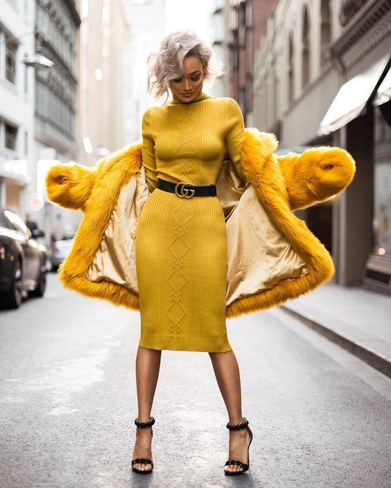 Красивые вязаные платья осень-зима 2018-2019: модные луки на фото — Bright-FACTS