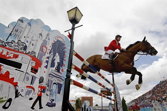 Ian Miller of Canada, in his 10th Olympics, rides Star Power, during the equestrian individual show jumping competition at the 2012 Summer Olympics Aug. 4.