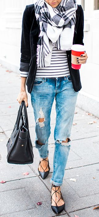 Can't go wrong with a blazer, scarf & striped shirt combo. Not so keen on the flats though.: