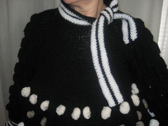 Black and White short dress- tunic- sweater. $220,00, via Etsy.