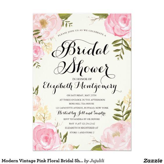 Modern vintage pink floral bridal shower card vintage for Classic bridal shower invitations