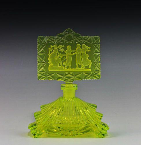 Bohemian Art Deco Vaseline Uranium Glass Czech Perfume Bottle Sig Pesnicak   eBay