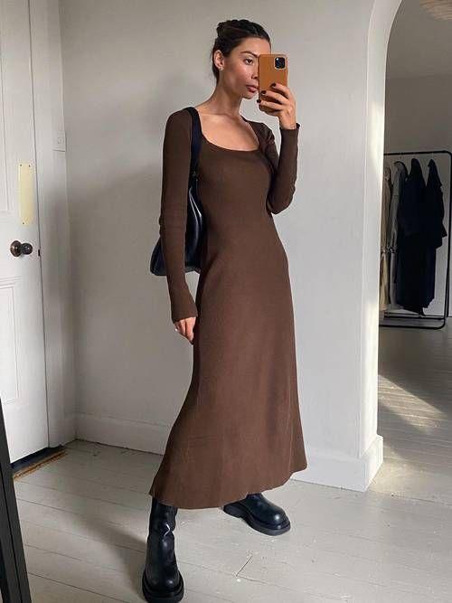 8 فساتين من الصيف يمكنك ارتدائها في خريف 2020 ألبوم صور اليوم السابع قبل دخول فصل الشتاء وارتد Dress Boots Outfit Pretty Fall Dresses Dresses Casual Winter