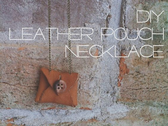 DIY Leather Pouch Necklace via Erin Pauls (One Fine Pine)