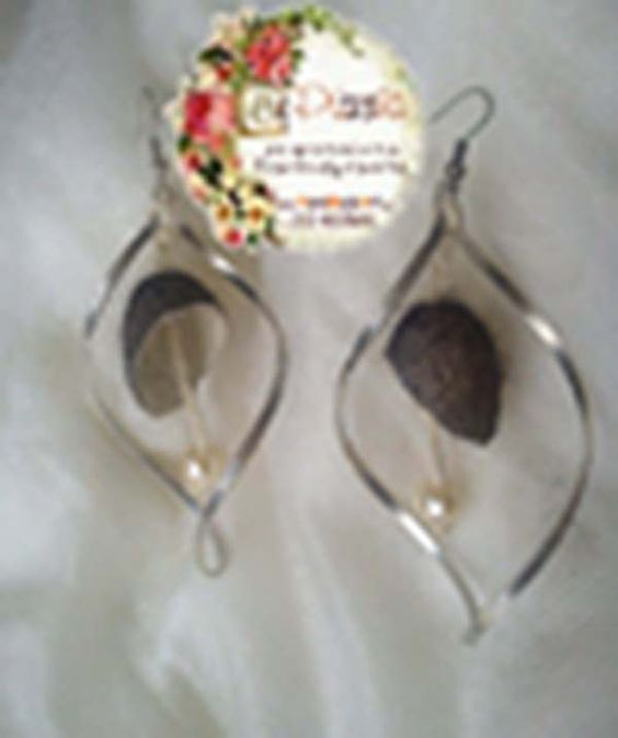 earrings with gblack silk cocoons