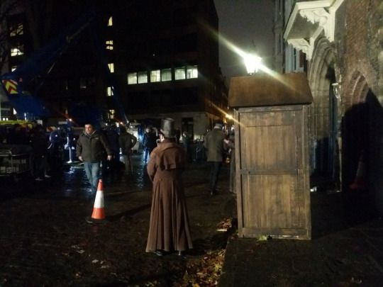 Tom Hardy on the set of Taboo -  London in Charterhouse Square - December 2015