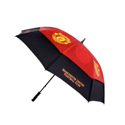 """MANCHESTER UNITED Golf Umbrella. Tourvent 60"""" double canopy making it wind resistant. Vented lower panels meaning that it won't turn inside out. Club colour panels with high quality screen print logos. Official Licensed Manchester United gifts"""