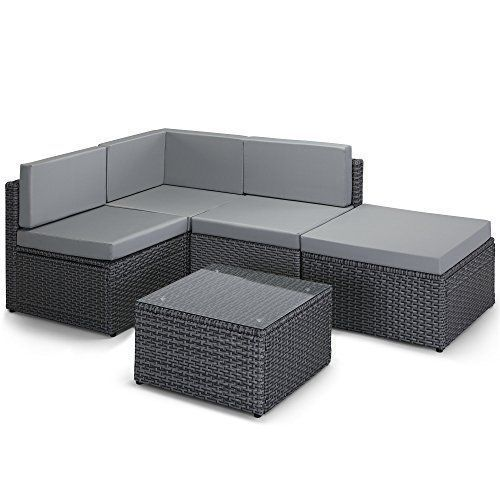 Vonhaus Rattan Modular Sofa Set Comfortable Cushioned L Shaped Outdoor Furnitur Design Gard Rattan Garden Furniture Garden Sofa Garden Furniture Design