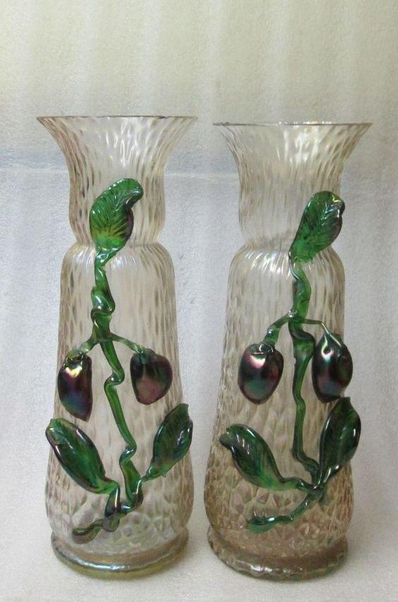 "Pair Bohemian KRALIK GLASS DECOR VASES MARTELE APPLIED FRUIT IRIDESCENT 10.5""!"