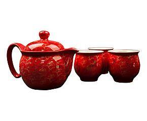 Service à thé FLOWER, porcelaine - rouge et doré