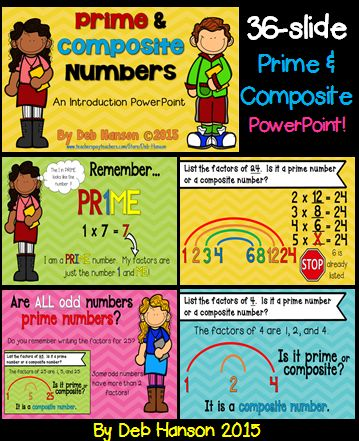 Prime and Composite Numbers PowerPoint-  for introducing the concept using factor rainbows.  Several practice slides included!
