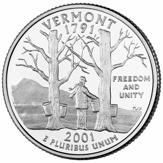 """Vermont became the 14th state in 1791.Vermont's state quarter features Camel's Hump Mountain, sugar maple trees and sap buckets. The coin also is inscribed with the states motto """"Freedom and Unity""""."""