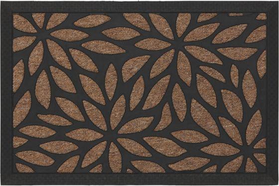 Dekorative Fußmatte in Beige - ein Blickfang im floralen Design