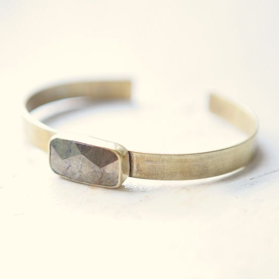 Faceted Pyrite Bangle #jewelry_design