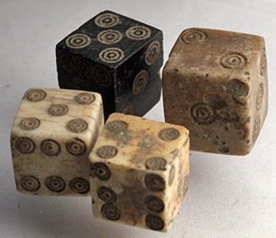 Four Ancient Roman Dice made of Ivory, Bone & Coal. (05/20/2007)