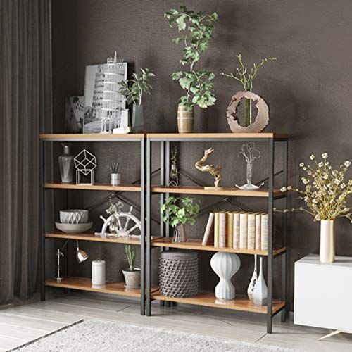 Nakey 3 Tier Bookcase Industrial Metal And Wood Bookshelves Display Rack And Home Office St Di 2020