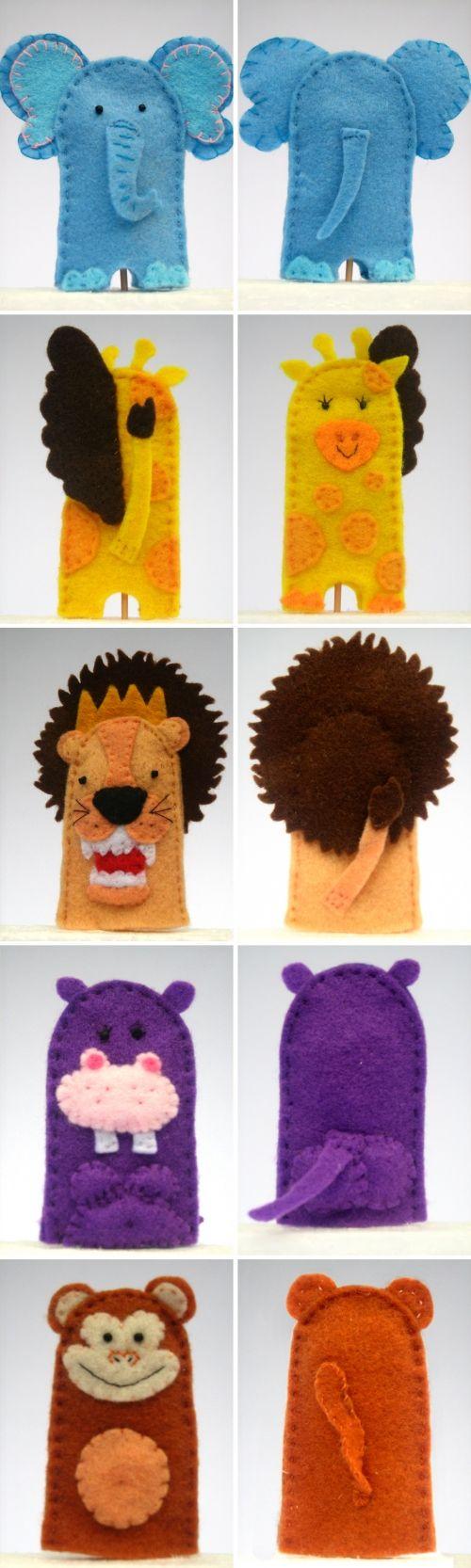 Marionetas de animales de la selva en detalle, dedoches de animais em feltro, felt animals fingertoys