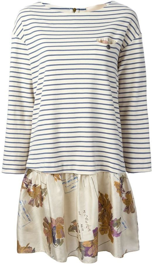 Erika Cavallini Semi Couture contrasting top and bottom flared dress