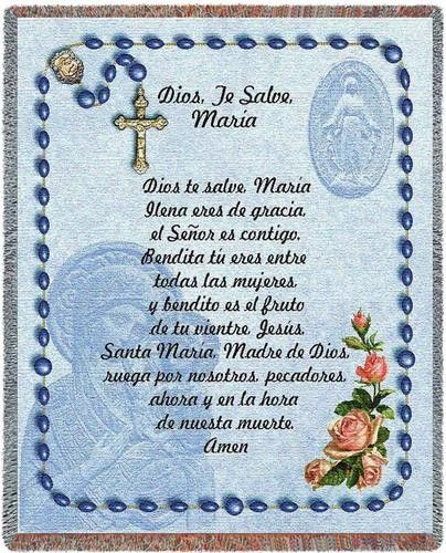 Personalized Hail Mary Spanish Tapestry Throw